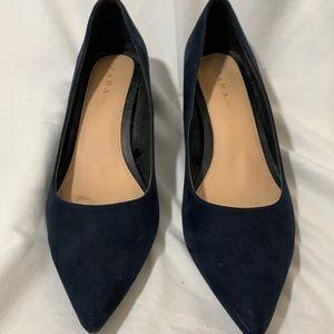 Zara TRF. Pointy toe, shiny heel,navy shoes. 9